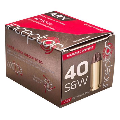 Inceptor Preferred Defense Ammunition 40 S&W 88 Grain ARX Lead-Free 20 Rounds