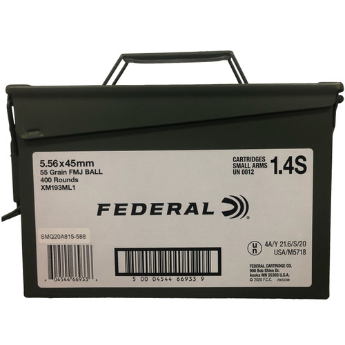 Federal XM193ML1 5.56 Nato 55 Grain Ammo Can 400 Rounds