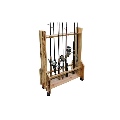 Rush Creek Creations Rustic Double Sided Rolling 16 Rod Storage Rack