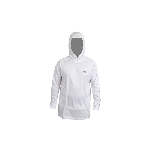 AFTCO Samurai Hooded Performance Long Sleeve Shirt - White - 2XL