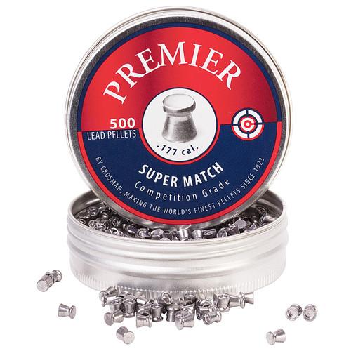 Crosman Premier Super Match Pellets 177 Caliber 7.9 Grain Flat Nose Tin of 500