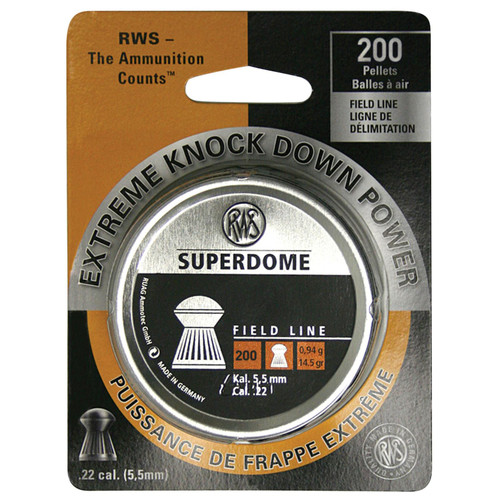 RWS 2317407 Superdome .22 Pellet Lead Domed/Grooved Skirt 200