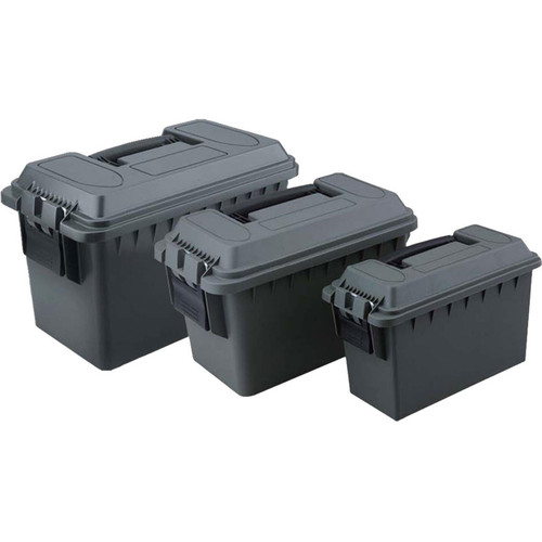 Focus on Tools 3 Piece Plastic Ammo Cans, 30 Cal, 50 Call, Fat 50 Cal OD Green