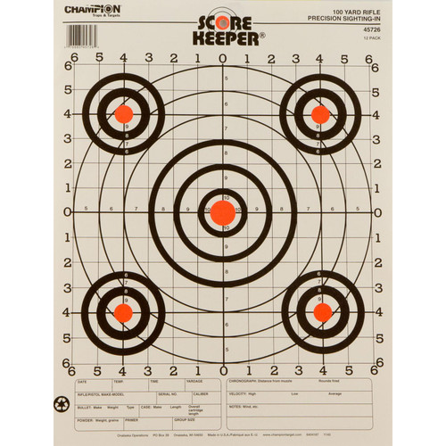 Champion Targets 100YD Rifle Sight-IN Target 12P 45726