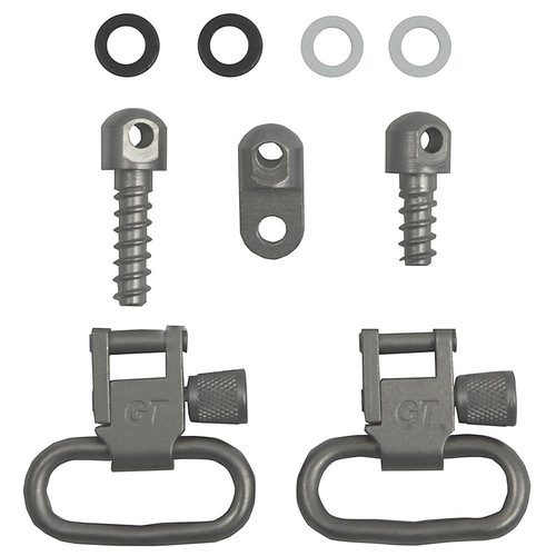 "Grovtec Sling Swivel Set Number 3 Sling Swivel Studs 1"" Steel Satin Nickel"
