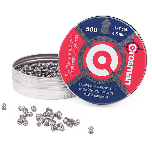 Crosman Air Gun Pellets 177 Caliber 7.4 Grain Pointed Nose Tin of 500