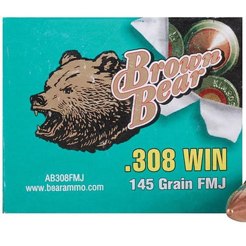 Brown Bear 511237 308 Winchester 145 GR FMJ (Bi-Metal) 20 Rounds