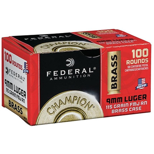 Federal WM51991  Champion 9mm 115 GR FMJ  100 Rounds