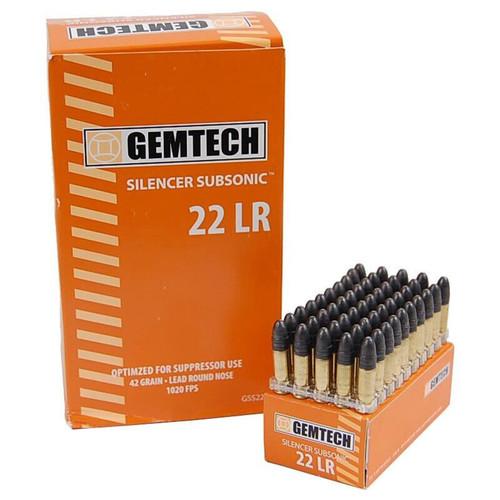 Gemtech GSS22 .22 LR 42 Grain Subsonic LRN 50 Rounds