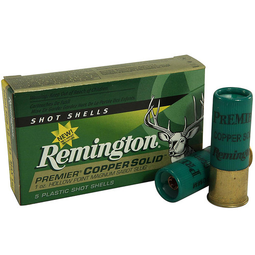 "Remington PR12CS Premier 12 Gauge 2.75"" 1 oz Copper Solid Sabot Slug 5 Rounds"