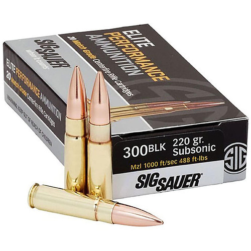 Sig Sauer E300A2-20 Elite Performance 300 AAC Blackout Subsonic 220 Grain Open Tip Match 20 Rounds