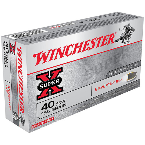 Winchester X40SWSTHP 40 S&W 155 Grain Silvertip Hollow Point 50 Rounds