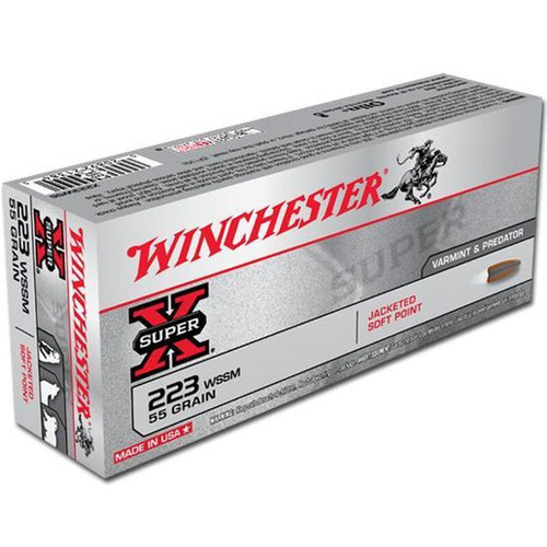 Winchester X223WSS Ammo .223 WSSM Super-X 55 Grain Pointed Soft Point Bullet 20 Rounds