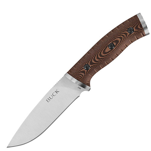 "Buck 0863BRS Selkirk Fixed Blade Knife 4.625"" Drop-point 420HC Steel Blade Micarta Handle Brown and Black"