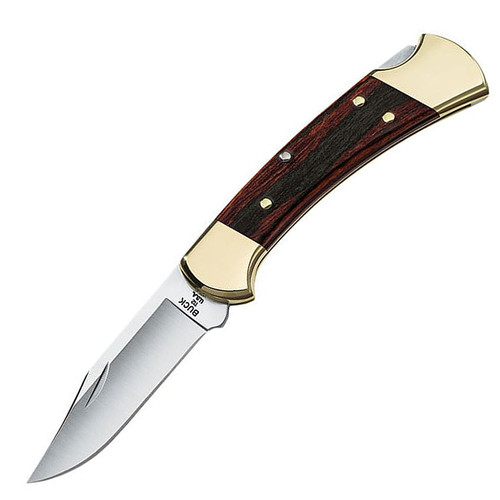 "Buck 0112BRS-B 112 Ranger Folding Pocket Knife 3"" 420HC Stainless Steel Clip Point Blade Wood Handle with Leather Sheath"
