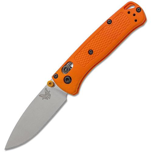 "Benchmade 533 Mini Bugout AXIS Folding Knife 2.82"" S30V Satin Plain Blade Orange Grivory Handles"