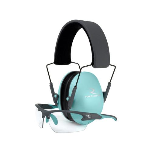 Radians Lowset Ladies Range Combo Aqua/Charcoal Earmuff & Glasses