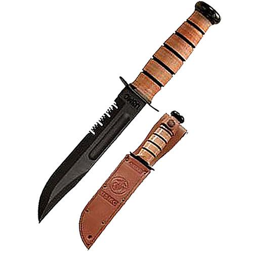 "Ka-Bar USMC Fight 7"" 1095 CroVan Blade Leather Handle & Sheath 1218"