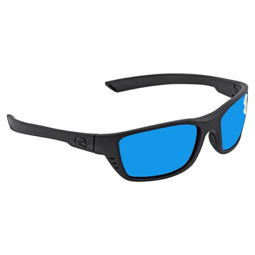 Whitetip Blue Mirror Polarized Glass Rectangular Sunglasses