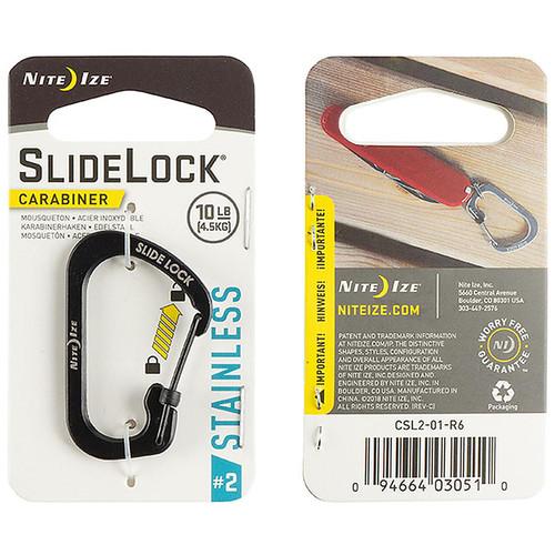 NITE IZE Slidelock Carabiner Stainless Steel #2 Black