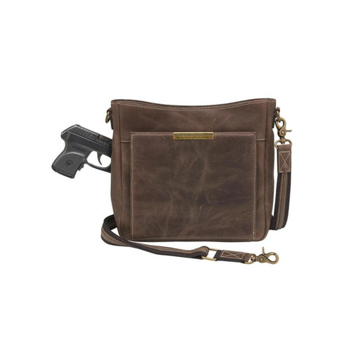 Buffalo Leather Slim Crossbody Purse Brown