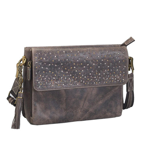 """Gun Tote'n Mamas GTMCZY-22 Buffalo Leather Concealed Carry Shoulder Clutch 10""""x8""""x3.5"""" Distressed Brown AMBI"""