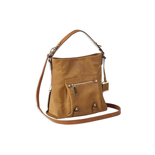 "Bulldog Cases BDP-054 Hobo Style Concealed Carry Purse With Holster Leather 12""x12""4"" Cognac Brown AMBI"