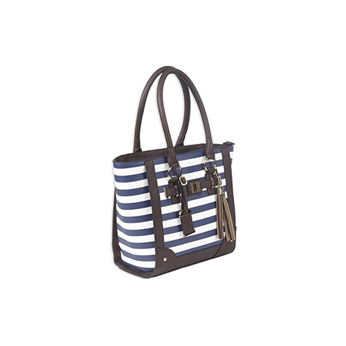 "Bulldog Cases BDP-050 Tote Style Concealed Carry Purse With Holster Leather 17""x12""x5"" Navy Stripe AMBI"