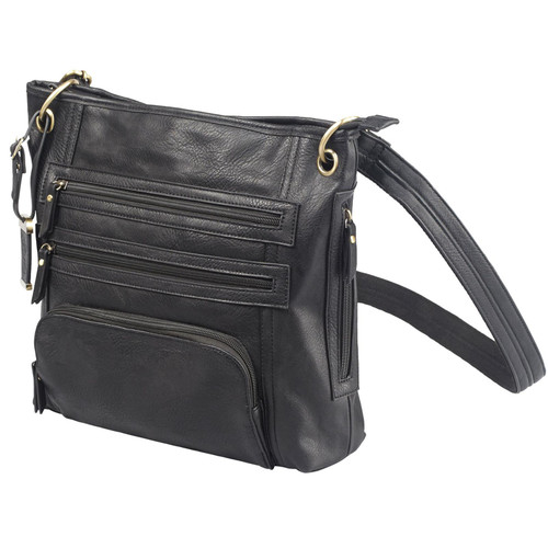 "Bulldog Cases BDP-038 Cross Body Style Concealed Carry Purse With Holster Leather 14""x12""x3"" Black w/ Black Trim AMBI"