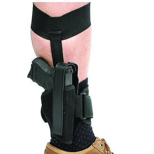 Blackhawk 40AH00BK-R Ankle Holster Black For 2 Inch Barrel Small Frame 5-Shot Revolvers With Hammer Spur RH