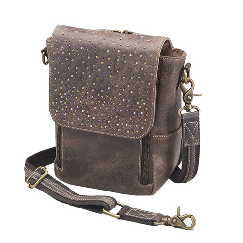 "Gun Tote'n Mamas GTM/CZY-80 Leather Concealed Carry Cross Body Satchel 8.25""x6.5""x4.5""Distressed Brown AMBI"