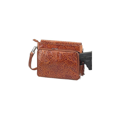 "Gun Tote'n Mamas GTM-22/TN Tooled Concealed Carry Cowhide Handbag 10""x1""x6.5"" Tan AMBI"