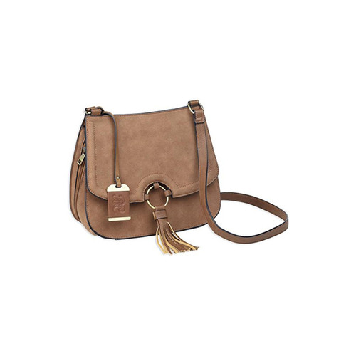 "Bulldog Cases BDP-034 Cross Body Style Conealed Carry Purse With Holster Suede 9""x10"".5x4"" Tan w/ Tan Trim AMBI"