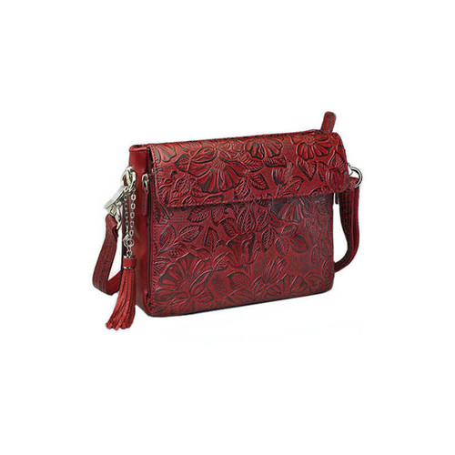 "Gun Tote'n Mamas GTM-22/CHY Tooled Concealed Carry Cowhide Handbag 10""x1""x6.5"" Black Cherry AMBI"