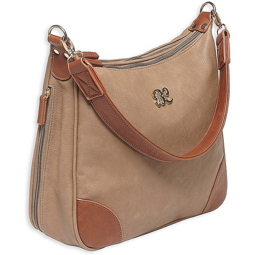 "Bulldog Cases BDP-014 Hobo Style Concealed Carry Purse With Holster Leather 13""x10.5""x3.5"" Taupe w/ Tan Trim AMBI"