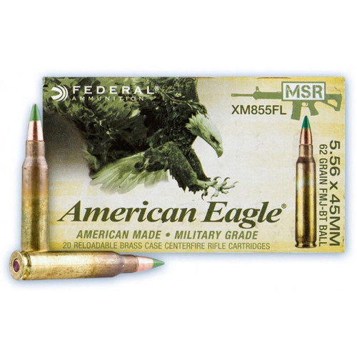Federal American Eagle 5.56 NATO 62 GR LAP FMJ 20 Rounds
