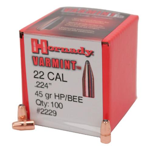 HORNADY 2229 22 CAL .224 45 GR HP (218 BEE) 100 CT.