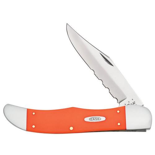 "Case Folding Hunter Folding Pocket Knife 5.25"" Serrated Clip Point Stainless Steel Blade Orange Synthetic Handle"