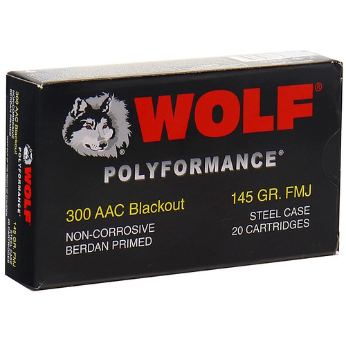 Wolf Polyformance 300 Blackout Ammo 145GR FMJ Steel Case 20 Rounds