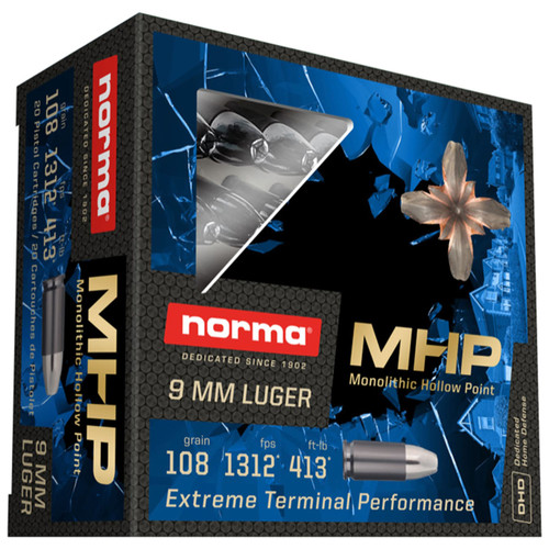 Norma Home Defense 9mm 108GR Monolith Hollow Point 20 Rounds
