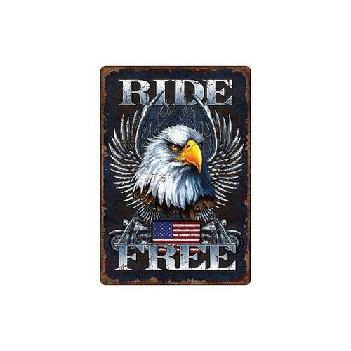 Tactical Crusader TN1593 Ride Free Eagle 12 x 16 in. Tin Sign