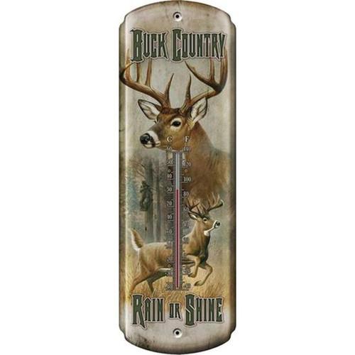"River's Edge Nostalgic ""Buck Country"" Thermometer Tin 5""x17"" 1358"