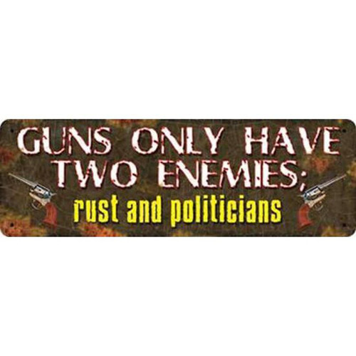 """River's Edge Products Tin Sign """"Guns Have 2 Enemies"""" 3.5 x 10.5 Inches 1408"""