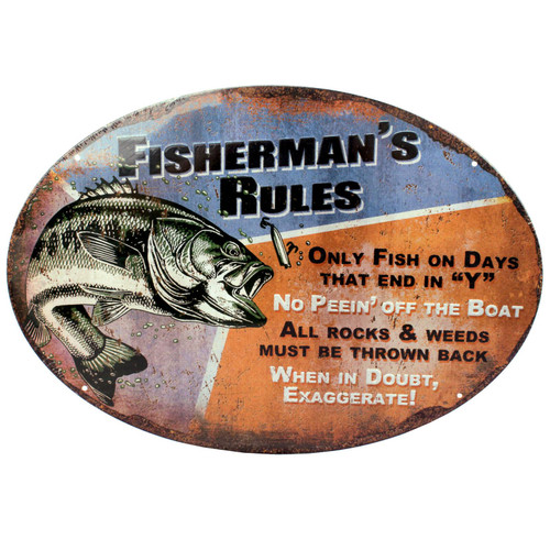 """Rivers Edge Products Tin Sign Fisherman's Rules, Size 12"""" x 17"""" mfg 1537"""