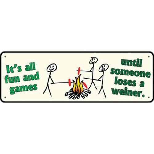 """River's Edge Large """"It's All Fun and Games"""" Tin Sign 3.5""""x 10.5"""" 1418"""