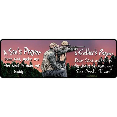 "River's Edge Large ""Father/Son Prayer"" Tin Sign Steel 10.5""x3.5"" 1423"