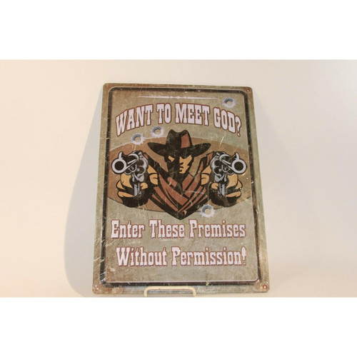 METAL TIN SIGNS, FUNNY, VINTAGE, PERSONALIZED 12-INCH X 17-INCH - MEET GOD