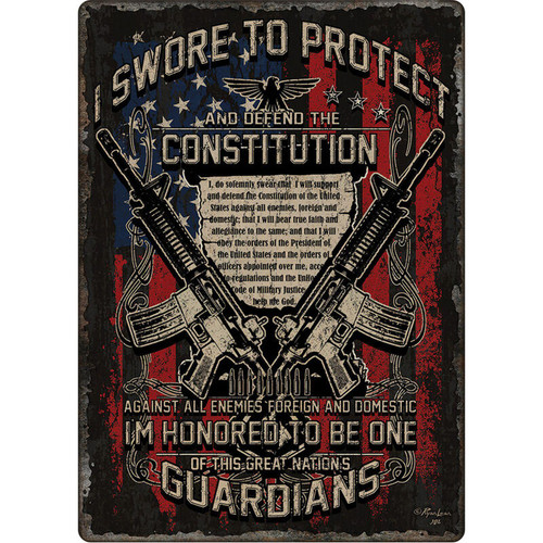 "River's Edge Products ""Guardians of Constitution"" Tin Sign 12 Inches by 17 Inches"