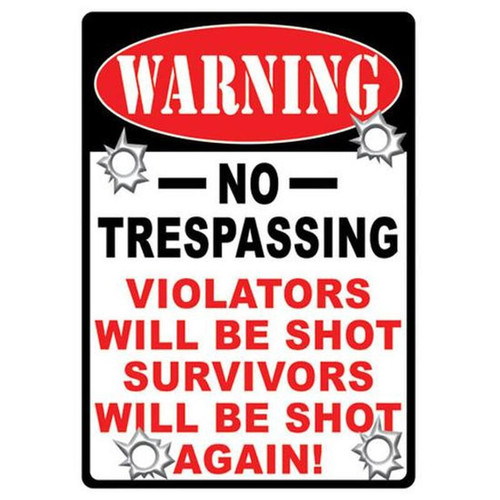 "River's Edge Products ""No Trespassing"" Sign Steel Large 12 x 17 Inches 1525"