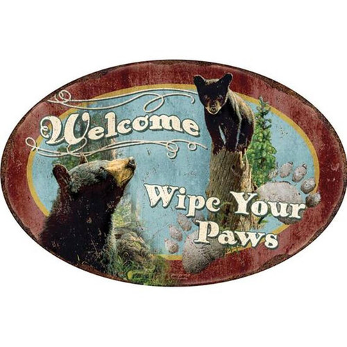 "River's Edge Products ""Wipe Your Paws"" Tin Sign 12 Inches x 17 Inches 1536"